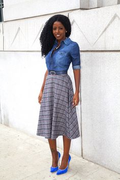 Denim Shirt + Plaid Midi Skirt by Style Pantry