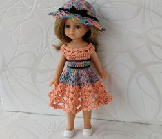 Clothes for mini dolls Paola Reina, doll 8,27 inch/21cm crochet dress for doll clothing Barbie Clothes, Barbie Dolls, Doll Shop, Dress With Cardigan, Handmade Dresses, Crochet Cardigan, Dress Making, Bows, Summer Dresses