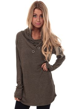 Olive Turtle Neck Tunic with Neck Buttons