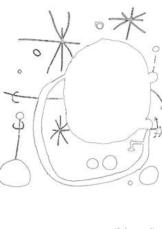 Joan Miro for kids artprints to color surrealism paintings / cuadros famosos surrealismo para colorear
