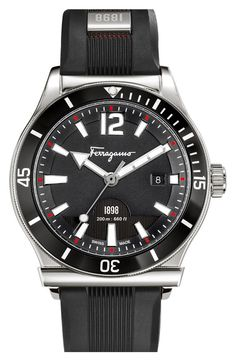 Free shipping and returns on Salvatore Ferragamo '1898 Sport' Rubber Strap Watch, 43mm at Nordstrom.com. Bold indexes mark a sporty watch designed with a unidirectional rotating bezel for easy timekeeping. Set on a comfortable rubber strap, this durable, Swiss-made style can handle depths of up to 200 meters.