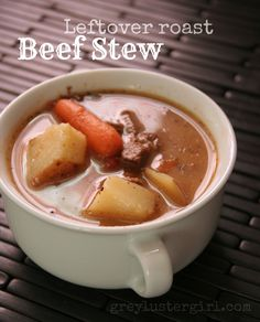 This might be a good idea for any leftovers you have: leftover roast beef stew recipe Healthy Crockpot Pot Roast, Roast Beef Recipes, Soup Recipes, Cooking Recipes, Yummy Recipes, Recipies, Dinner Recipes, Crockpot Ideas, Crockpot Dishes