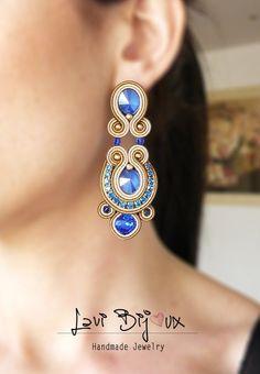 Soutache Earrings Handmade Earrings Hand Embroider… - Handmade Earrings on Etsy Soutache Bracelet, Beaded Tassel Earrings, Soutache Jewelry, Pendant Earrings, Chandelier Earrings, Earrings Handmade, Dangle Earrings, Handmade Jewelry, Shibori