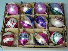 10 Poland Fantasia - 2 W Germany Vintage Glass Tear Drop Christmas Ornaments