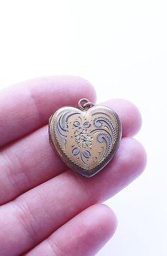Vintage LaMode Signed 12K Gold Filled Heart Locket Pendant #Lamode