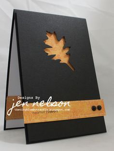 clean and simple card in black...great idea to have the negative die space on…