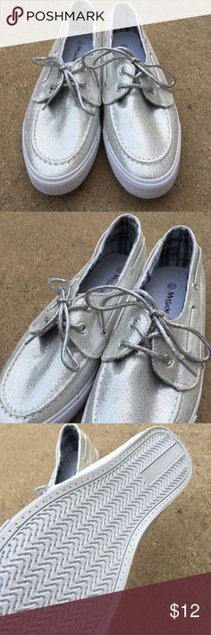 Women's Silver Tennis Shoes SZ 8 1/2 New never worn no box Shoes Sneakers