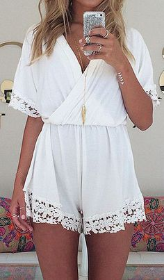 cd949f84ee56  Sexy V-neck Slim Chiffon Patchwork Romper White Short Jumpsuit