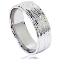 Hand Etched Modern 6MM Dome Wedding Band 10K White Gold Ring Size 7-12