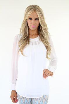 Lime Lush Boutique - Cream Ribbon Back Pleated Neckline Blouse, $54.99 (http://www.limelush.com/cream-ribbon-back-pleated-neckline-blouse/)
