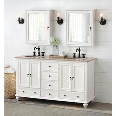 Home Decorators Collection Newport 61 in. Vanity in White with Granite Vanity Top in Champagne with White Basin-1975300410 - The Home Depot