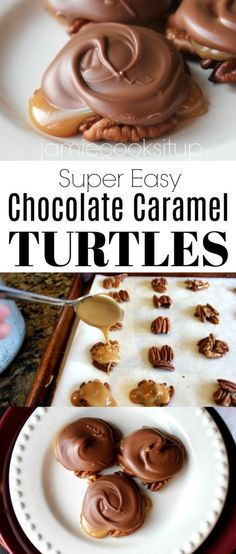 I have always wanted to make Turtle Clusters. Not because I have a fascination with real live turtles and think it would be fun to nibble on one. I've actually NEVER wanted to do that. Thank … Chocolate Caramel and Pecan Turtle Clusters Beth Carter Köstliche Desserts, Delicious Desserts, Dessert Recipes, Plated Desserts, Pasta Recipes, Christmas Cooking, Christmas Desserts, Christmas Crack, Christmas Candy