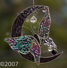 Stained Glass Butterfly on the Moon $43.00: