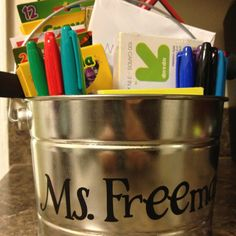 "Teacher bribe, I mean gift... For 1st grade. I got a $3 bin at home depot, put in chocolate, reward stickers, teacher to-do notes from the Target $1 bin, crayons, note cards, post-its, colored pencils, sharpee markers, a gift card and a personal note from my daughter. We are planning to take it to ""meet the teacher day"" tomorrow!"