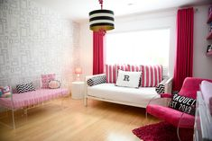 Modern Hot Pink and White Girl's Nursery