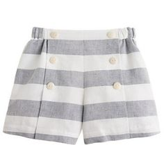 Over the moon for these sailor shorts! Girls' sailor short in linen stripe