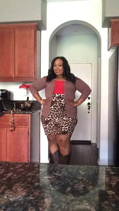 I love fashion.  Leopard skirt with Red tank top and brown cowboy boots.  Feelin' fun and sexy for the day   #plus size