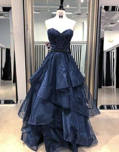 Dark blue lace tulle long prom dress, ball gown party dress for teens