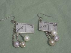 Love Postcard Earrings Glass Pearl Earrings by AllMyLoveofCrafts, $14.00