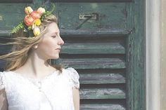 peach and yellow flower crown
