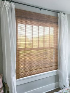 How to: Hack Store Bought Roman Shades - How To Cut Bamboo Roman Shade - Bamboo Blinds, Wood Blinds, Curtains Living, Drapes Curtains, Blinds For Windows Living Rooms, Modern Curtains, White Curtains, Bamboo Roman Shades, Window Sheers