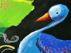 Um grande pssaro azul da Terra do Gouache A big blue bird from de Gouaches Land