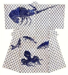 Japan, silk kosode from Edo period, c. stunning lobster, octopus and globefish design Japanese Textiles, Japanese Fabric, Japanese Kimono, Shibori, Edo Period Japan, Modern Kimono, Kimono Design, Japanese Graphic Design, Kimono Fabric