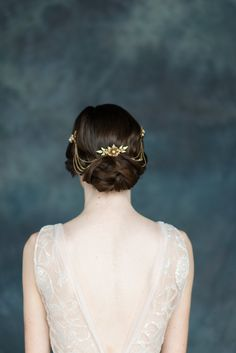 Gold Flower Crystal Hair Chain Bridal by BlairNadeauMillinery