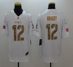 e069b8a5c ... Mens New England Patriots 12 Tom Brady Salute to Service White Limited  Jersey ...