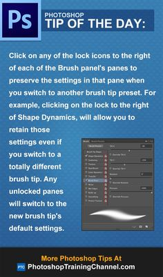 Click on any of the lock icons to the right of each of the Brush panel's panes to preserve the settings in that pane when you switch to another brush tip preset. For example, clicking on the lock to the right of Shape Dynamics, will allow you to retain those settings even if you switch to a totally different brush tip. Any unlocked panes will switch to the new brush tip's default settings.