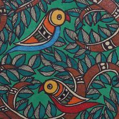Madhubani painting 'Tree of Life' - Nature-Themed Madhubani Painting from India Indian Traditional Paintings, Indian Art Paintings, Abstract Paintings, Oil Paintings, Traditional Art, Madhubani Art, Madhubani Painting, Kalamkari Painting, Kerala Mural Painting