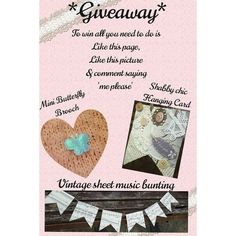 I'm holding a giveaway.  All you have to do to enter either on facebook or instagram is be a liker of the page or a follower on here. Like this picture and comment 'me please'  UK entries only I'm afraid. Winner will be announced on Friday.  Good luck. #handmade #giveaway #cards #bunting #handmadebunting #garland #banner #etsy #sheetmusic #vintage #vintagestyle #shabbystyle #shabbychic #crafts #crafty #butterflies #facebook #instacraft #instagram by lovelinesshandmade