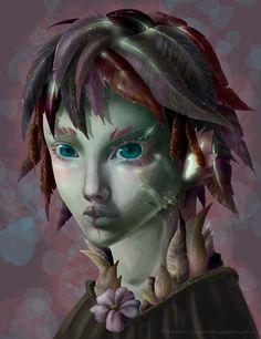 Sylvari (GuildWars2) Fanart coloured version by hasugraphics.deviantart.com on @deviantART