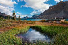 Fondo de pantalla 3000x2000 montañas, hierba, lago, naturaleza, cielo