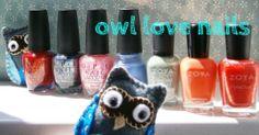 owl love nails - polishes from left to right: OPI The Spy Who Loved Me, OPI On Her Majesty's Secret Service, OPI Nothin' Mousie 'Bout It, China Glaze Fade Into Hue, Zoya Vespa, Zoya Thandie, Zoya Destiny