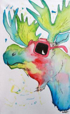 Cool Moose Art Print by Betty Fury | Society6