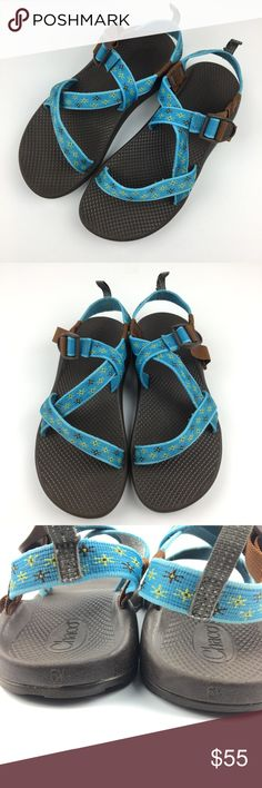 Blue & Brown Z1 Chacos Womens 8 (Youth 6) Blue floral and brown Z1 Chacos without the toe loop. These are technically a youth girls size 6, but fit a women's size 8 or 7.5 comfortably. I am a size 8 shoe and wore these for two summers with zero issues. Last photo is of the sandals on my size 8 feet.   The straps adjust just like adult Chacos. I have compared them to my adult size 8 Chacos and they are within millimeters of being exactly the same. Selling because I was gifted a new pair and I…