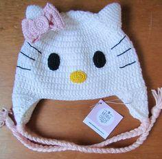 Touca crochê Hello Kitty