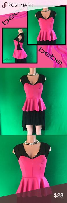 BEBE Ruffled Peplum Top Mesh Panels NWOT MD Never worn but tags have been removed. Super sexy peplum style top by BEBE in a size Medium. Spandex and stretchy! Sheer black panels add extra flair to the bright Fuchsia top. Please ask me any questions. The High Low skirt is also available in my closet! Thanks for shopping, I ship daily! 😍❤️😘 bebe Tops Blouses