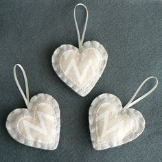 Set of 3 Felt Decorations Wedding Christmas Home by jmcvisions