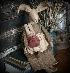 Primitive Folk Art Mama Bunny Rabbit and Baby by rockriverstitches
