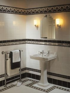 See all our stylish art deco bathrooms design ideas. Art Deco inspired black and… See all our stylish art deco Style Tile, Art Deco Bathroom Tile, Art Deco Bathroom, Art Deco Tiles, Bathroom Art, Indoor Tile, Deco Furniture, Bathroom Design, Interior Deco