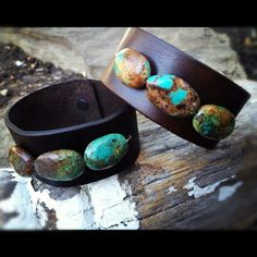 Turquoise and leather cuffs