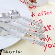 Children's Personalised Paddington Bear Cutlery Sets - let your little ones enjoy their mealtimes with this adorable 4 piece cutlery set. Made from stainless steel, featuring Paddington Bear and a name of someone special, this is perfect gift. Personalized Gift Cards, Personalized Christmas Gifts, Childrens Meals, Small Spoon, Paddington Bear, Bear Design, Christening Gifts, Cutlery Set, Gift Store