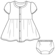 OFRECEMOS patrones moldes Ropa para bebes, chicos, chicas y uniformes Vestido Gabardina 0014 Vestidos BEBES
