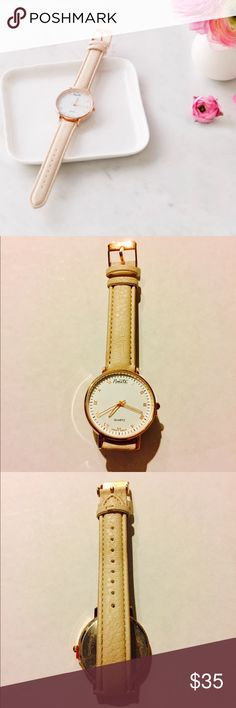 Nanette Nanette Lepore Classic Rose Gold Watch NEW This classic watch has an adjustable beige vegan leather strap and a white enamel dial with rose gold roman numerals, hands and face. Goes with everything! Brand new (did not come with tags) and never used, protectant stickers and dial tab still attached. Nanette Lepore Accessories Watches