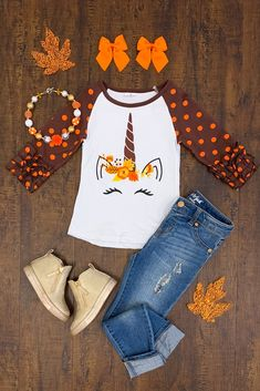 Our adorable fall unicorn ruffle t-shirt is perfect for your little princess this fall. Brown and orange polka dot ruffle sleeves and a darling unicorn on the front with fall colors! Cute Outfits For Kids, Toddler Outfits, Boy Outfits, Fashion Outfits, Holiday Outfits, Fall Winter Outfits, Girls Fall Fashion, Polka Dot Leggings, Tops For Leggings