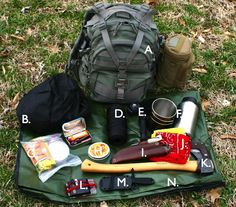 A Hunters Emergency Kit: Part 1 An Overview -  Written by Kirk Bowker, March 4th, 2014 - This is the authors main kit that is carried when the plan is to be out from sunup to sundown. Besides the items listed, there are others that are carried but are related more specifically to the hunt rather than survival. A. Maxpedition Condor II pack w/ attached bottle carrier -  B. Frog Toggs rain jacket -  C. Altoids tin containing, Bic lighter, extra ferro rod, sure fire, a small amount of Gorilla…