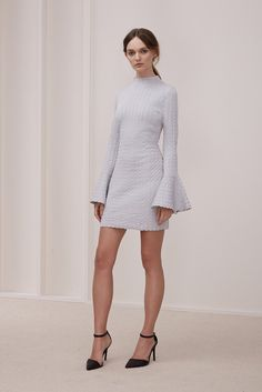 AEROPLANE LONG SLEEVE MINI DRESS pale grey