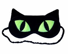 Cat Sleep Mask, Black cat eye mask, Neon green eyes, Animal totem, Animal sleeping eye mask, Cat ears, Cat cosplay costume, Gift for her him by PomponDesigns on Etsy https://www.etsy.com/listing/99016830/cat-sleep-mask-black-cat-eye-mask-neon